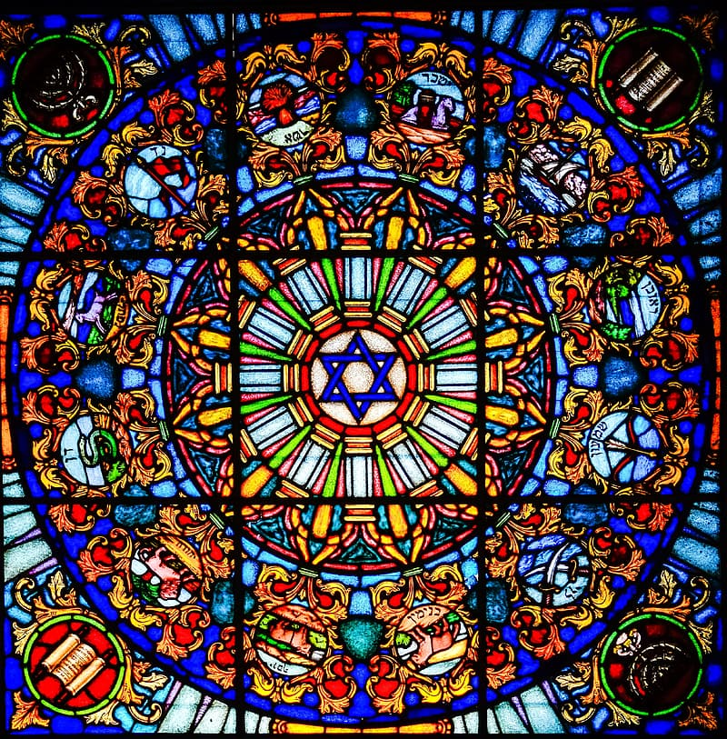 Multicolored paneled stained glass