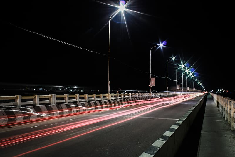 Time-lapse photography of road light