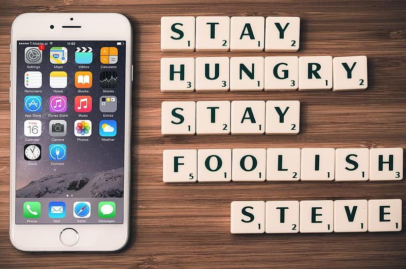 Silver iPhone 6 and scrambled quotes