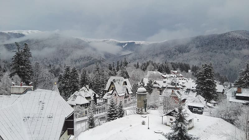Town covered with snow during window season
