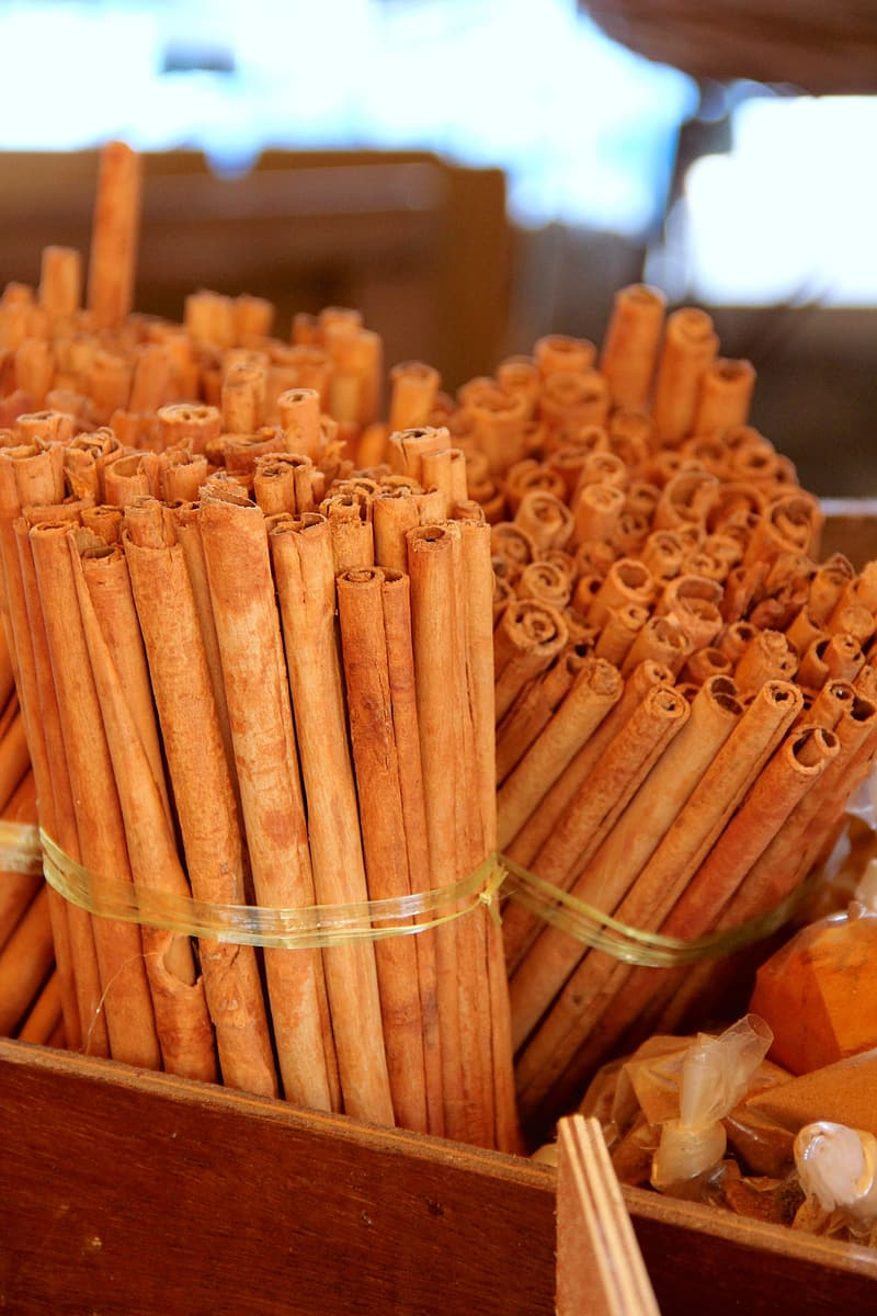 Brown wooden sticks on brown wooden container