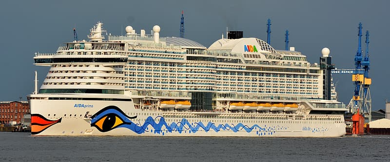 White and blue cruise ship on sea at daytime