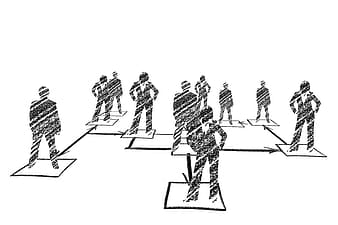 Charcoal painting of people standing on squares