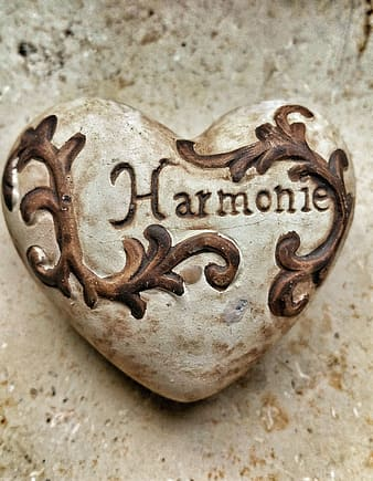 Gray and brown Harmonie engrave heart ornament