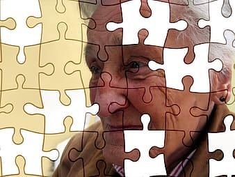 Edited jigsaw puzzle frame photo of woman