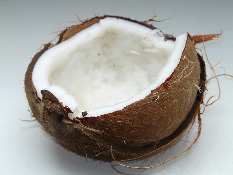 Cracked coconut shell with meat