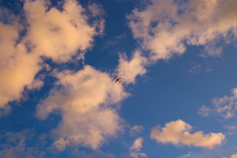 Airplane flying under blue sky during daytime