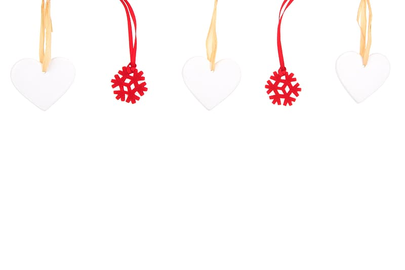White heart and red snowflake decors