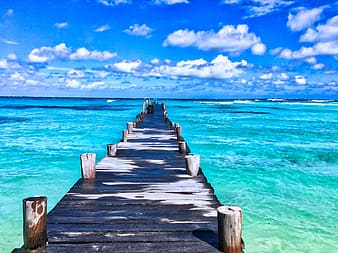 Brown wooden dock under blue sky on green water during daytime