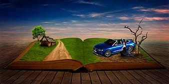 Open book with tree and blue car