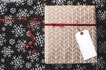 Brown and white checkered gift box