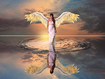 Woman angel walking on water