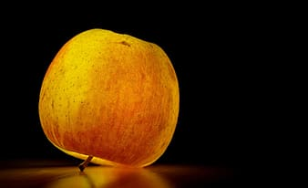 Red apple fruit with light on table