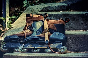 Blue and brown leather boots