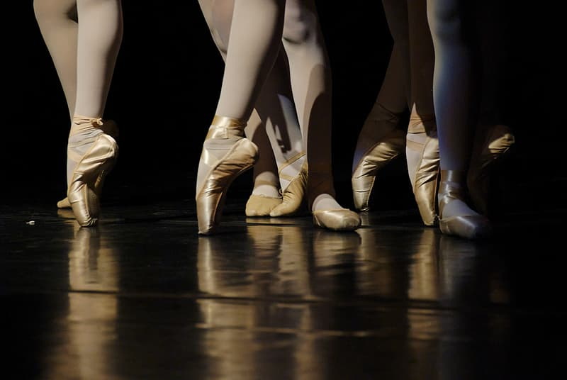 Low angle photography of people in ballet suit and shoes