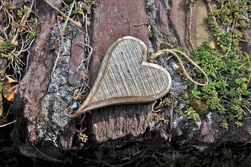 Brown and white woven heart shaped decor