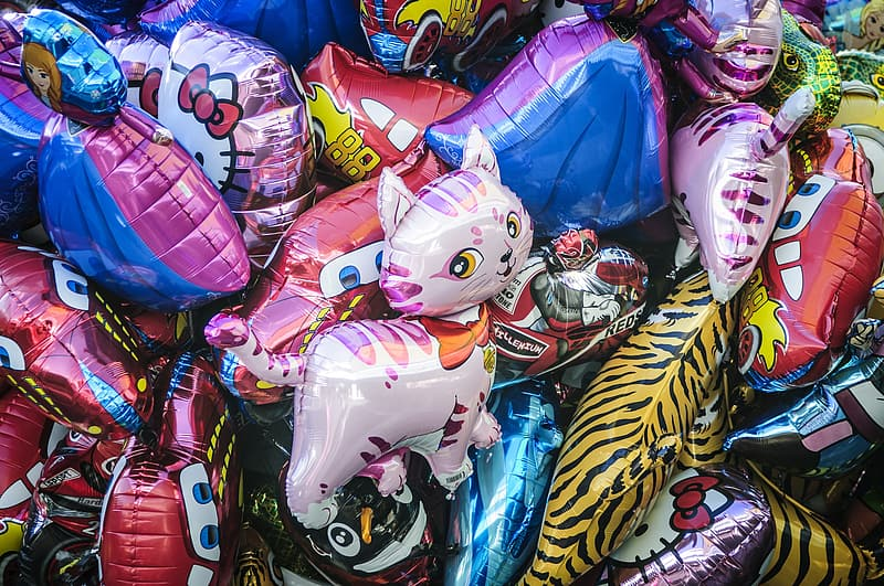 Assorted-color-and-design mylar balloons