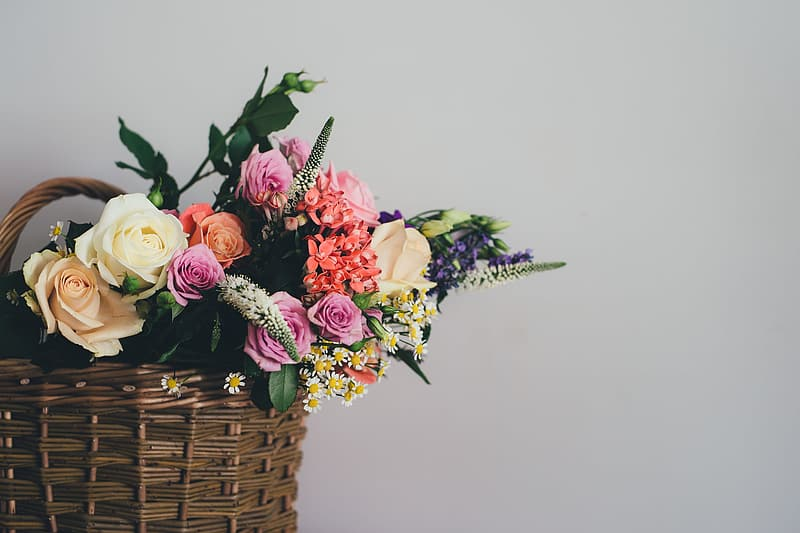 White, pink, and red roses in wicker basket