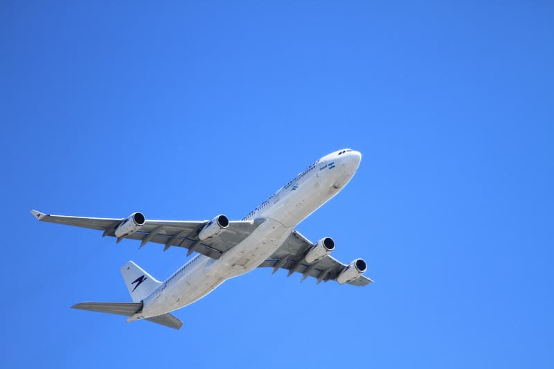 White and blue airplane