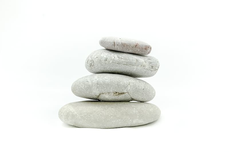 Four gray stack pebble