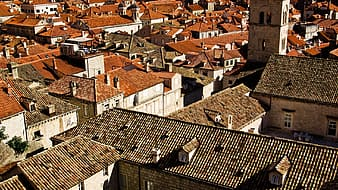 untitled, roofs, orange roofs, brown roofs, dubrovnik, croatia, europe, architecture, cityscape, tower