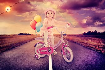 Girl riding bicycle with balloon illustration