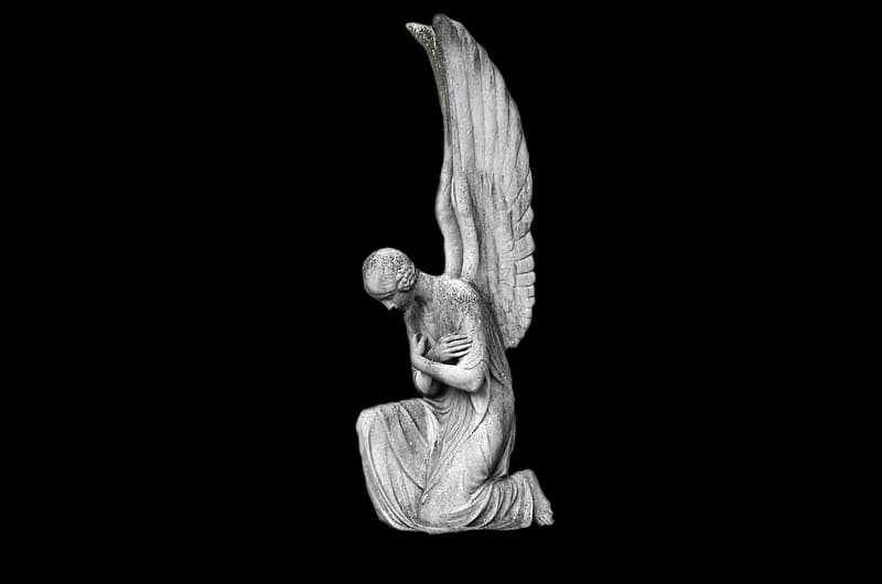 Angel with wings statue on black background