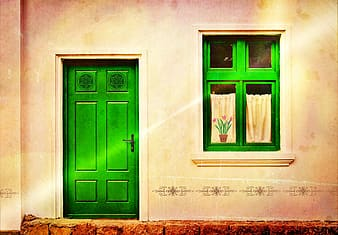 Green wooden 6-panel wooden door and window