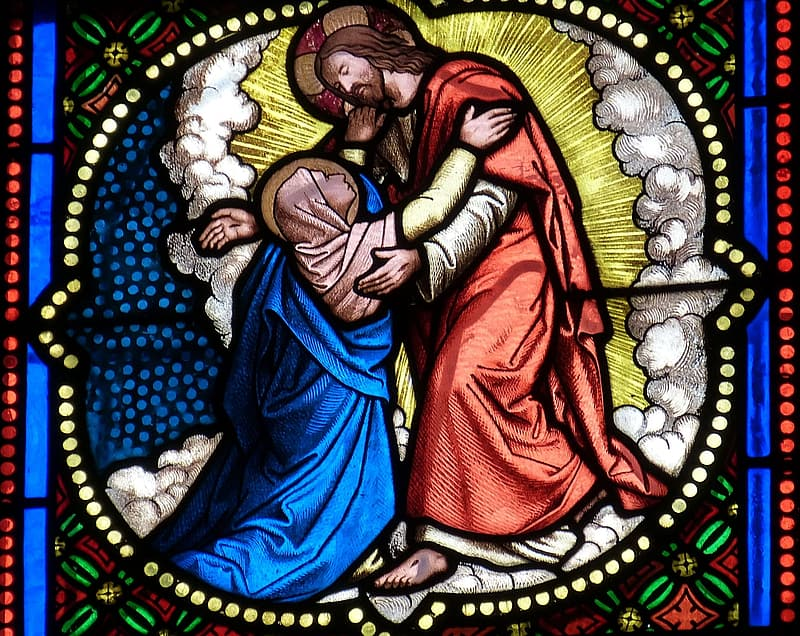 Stained glass of Jesus Christ and Mary Magdalene