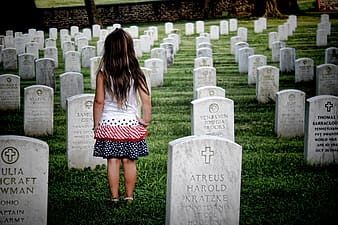 Girl at cemetery