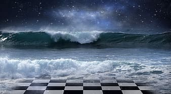 Sea waves on black and white checkered floor during night time