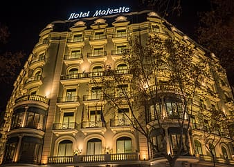 Hotel Majestic building at night