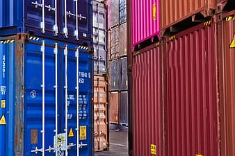 Blue and red steel containers
