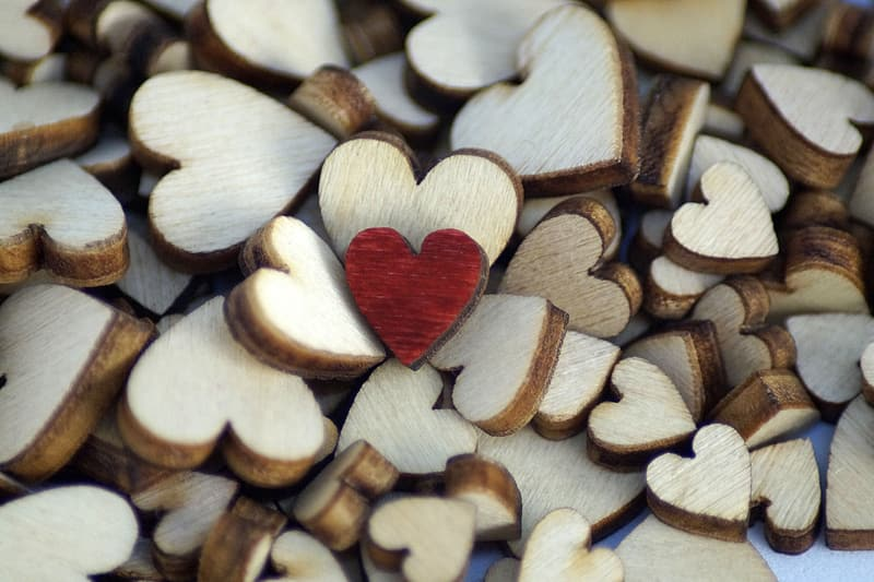 Brown and white heart shaped stones