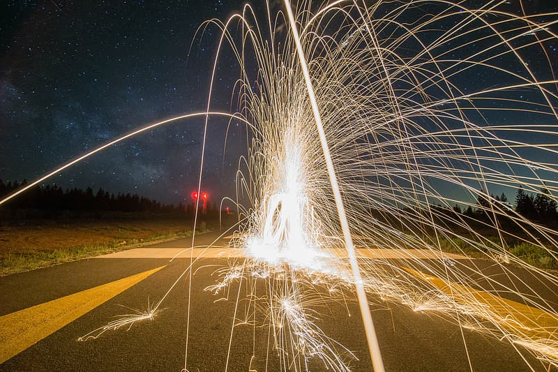 Fountain firework on road