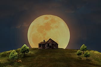 House and moon illustration