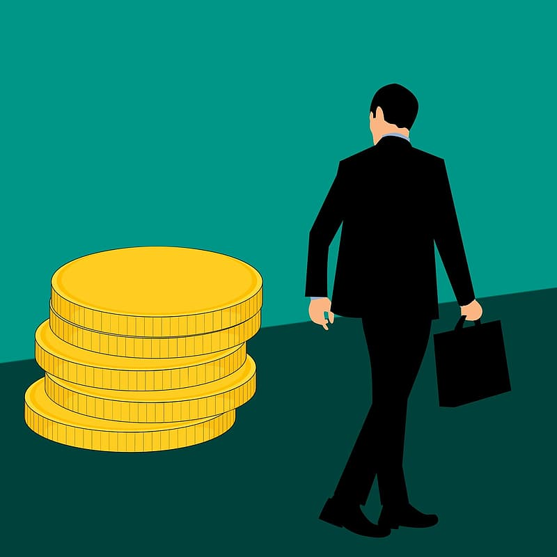 Illustration of businessman with briefcase walking past stack of gold coins.