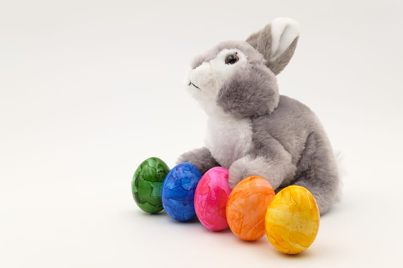 Gray rabbit plush toy beside yellow blue and green eggs