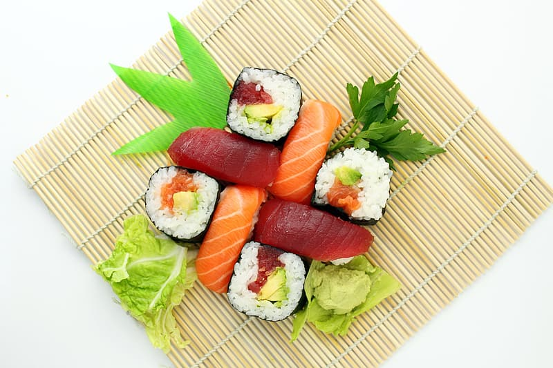 Sushi and green vegetable