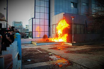 Time-lapse photography of burning building
