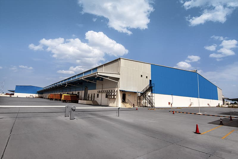 Gray and blue warehouse