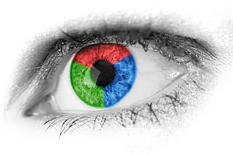 Person's blue, red, and green iris