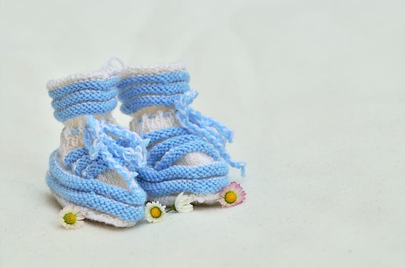 Pair of blue and white knit shoes