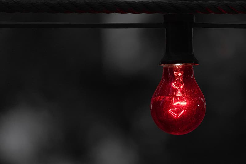 Red light bulb photography