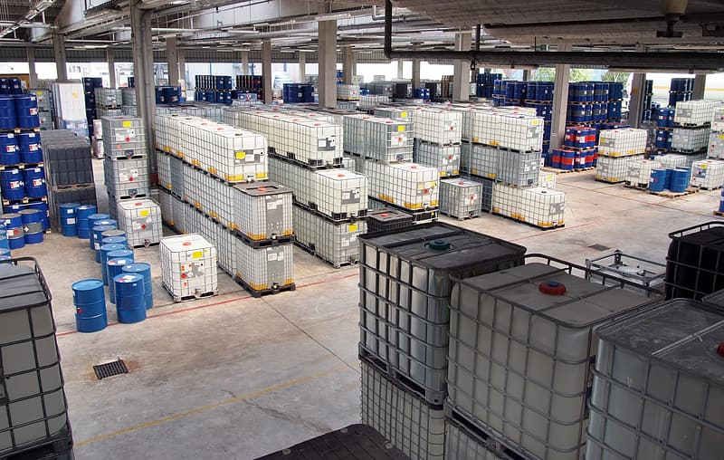 White and blue plastic crates