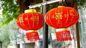 Two red Chinese paper lamps