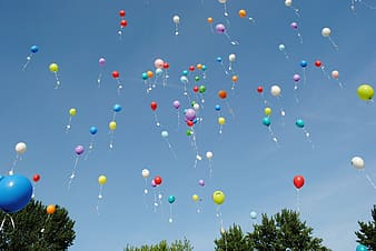 Assorted colors of balloons