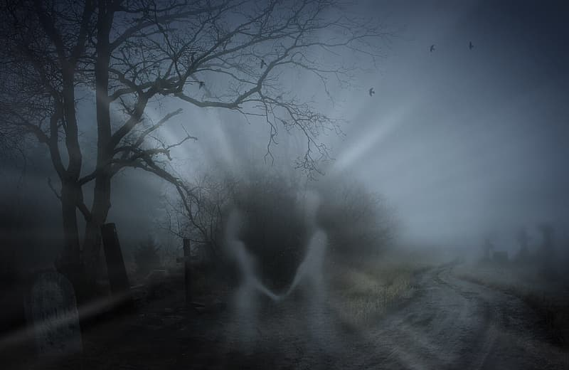 Woman and man ghosts on pathway