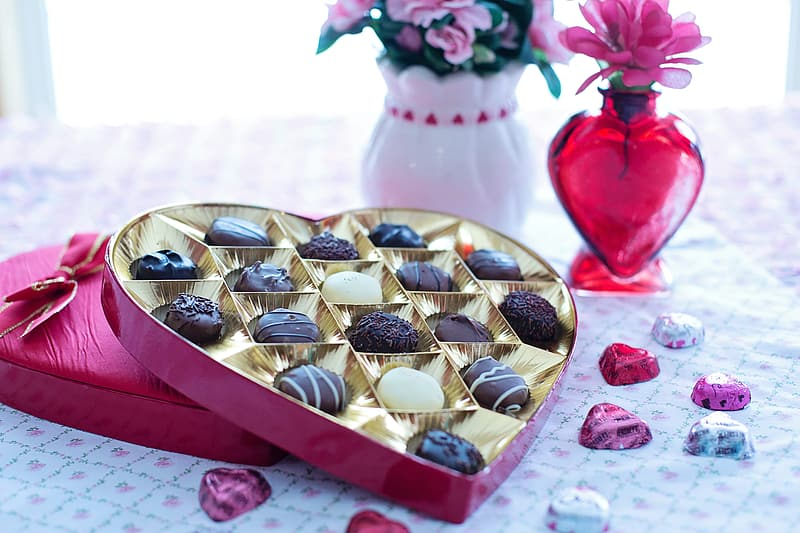 Chocolates in red heart box