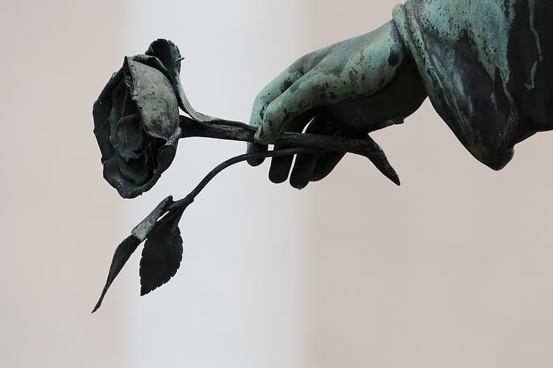 Human hand holding rose statue